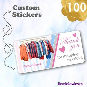 100 THANK YOU  Personalized Closet Stickers 4 x 2""